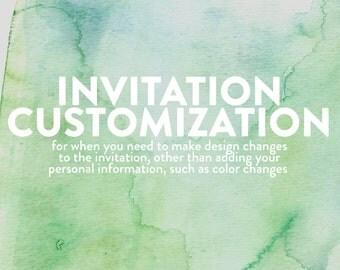 Printable Invitation Customization, Customize Your Printable Invitation, Printable Invitation Changes