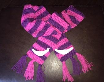 Cheshire Cat Alice in Wonderland Scarf Crochet Handmade