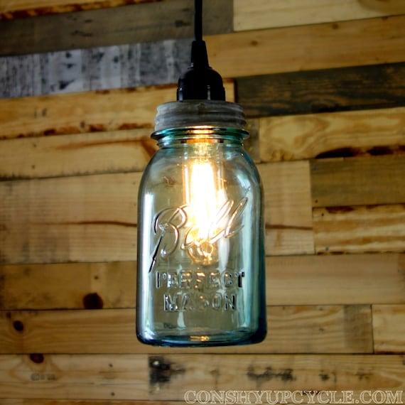 Vintage 1 Quart Ball Mason Jar Pendant Light