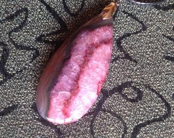 13-Pink Druzy Onyx Agate Gemstone Pendant Necklace, Pink Agate Pendant Gemstone Necklace, Pink Agate Necklace, Teardrop Agate
