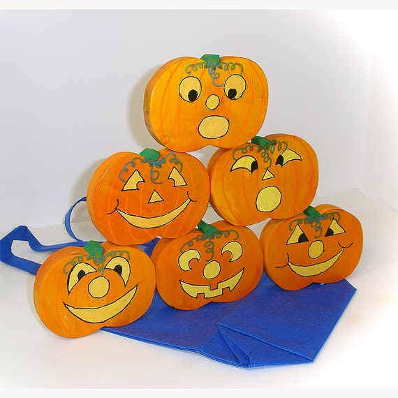 Halloween Pumpkin Stacking Game Wooden Stacking Toy Pumpkins Jack-o-Lantern Stacking Game With Fabric Tote Bag
