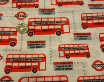 "Polycotton Fabric with London Bus Print - 45"" wide"