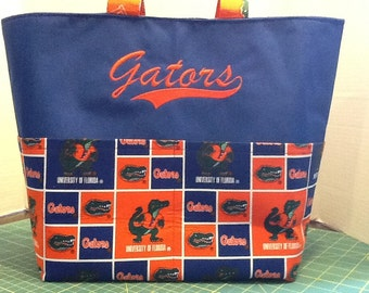 Personalized Football pocket tote bag made with Florida Gators fabric