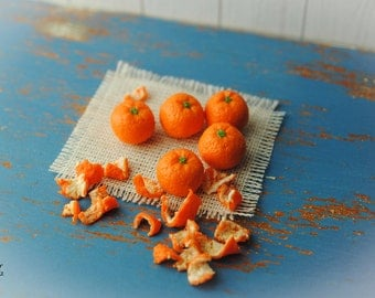 5 orange with the shell, scale 1:6, polymer clay/Fimo, miniature food, Doll House