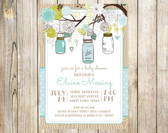Mason Jar Rustic Baby Boy Shower Invitation