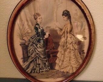 La Mode Illustree 1878 French Fashion Plate Framed Art