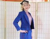 Vintage Royal Blue Plaid Suit . 1980's Pendleton Virgin Wool .  Boxy Short Jacket . Midi Pencil Skirt . Turquoise Orchid Rose Black Plaid .