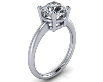 Juliette Forever Brilliant or Forever One Moissanite 4 Prong Upper and Lower Gallery Classic Solitaire Ring
