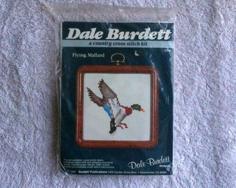 Vintage Dale Burdett Flying Mallard Cross Stitch Kit 1985 Made in the USA  Duck Cross Stitch Kit b21