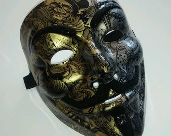 Half Gold/ Half Silver Anonymous/ Guy Fawkes Resin Mask, Death Dealer Graphic AWESOME!