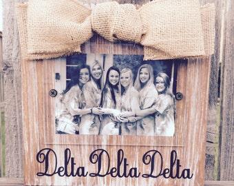 Delta Delta Delta Whitewashed Rustic Frame