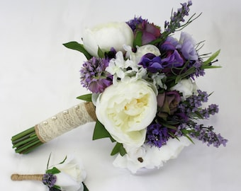 Peony and Rose Purple & White Lavender Rustic Bridal Bouquet with Groom's Buttonhole - Keepsake Peony Bridal Bouquet