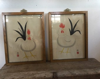 Chinese Rooster Framed Art