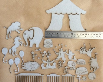 Bare Chipboard 49 Piece Circus Tent and Animals, laser cut - Great for scrapbooking, mixed media projects, cards, journals