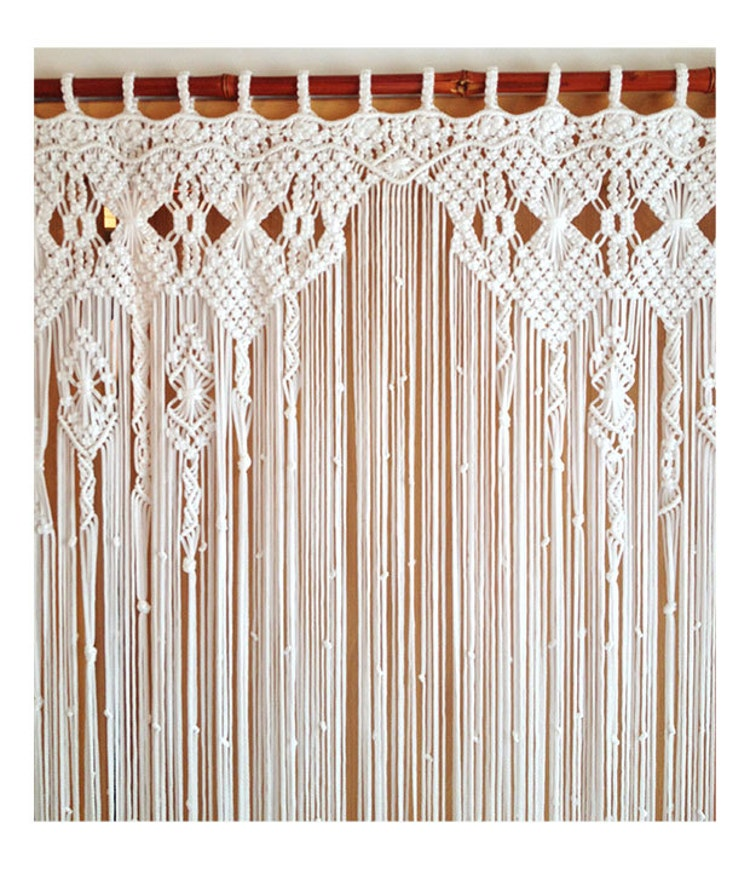 rideau en macram macram grande art fibre par mislanascreativas. Black Bedroom Furniture Sets. Home Design Ideas