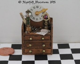 Dollhouse Miniature Steampunk Mad Scientist Hanging Shelf Unit in 1:12 scale