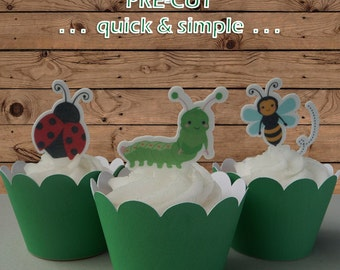 12x Garden Critters EDIBLE wafer stand up toppers PRE-CUT