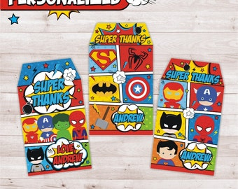 Personalized Superheroes favor tags, Birthday Party Superheroes, Superheroes gift tags, Superheroes Printables, Superheroes decoration.
