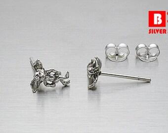 925 Sterling Silver Oxidized Earrings, Cupid Earrings, Stud Earrings (Code : ED25)