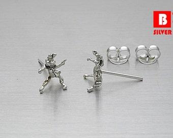 925 Sterling Silver Oxidized Earrings, Stud Earrings (Code : ED53)