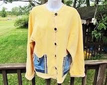 Upcycled Sweat Jacket, Yellow Sweatshirt, Patchwork Jacket, Recycled Clothing, Fall Fashion, Repurposed Sweatshirt, Size Large