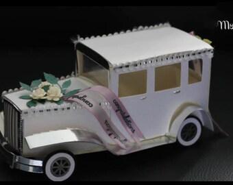 3D SVG Vintage Car gift box DIGITAL download