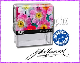 Custom Personalized Signature Self Inking Rubber Stamp Pink Flowers Theme