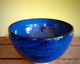 Pottery ceramic blue stoneware cereal bowl