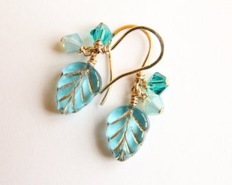 Delicate Glass Turquoise Leaf Earrings for Girls, Dainty Dangly Earrings for Teens, Small Blue Earrings