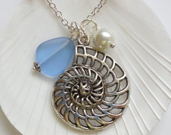 Sapphire Blue Sea Glass Necklace,Seaglass Jewelry,Charm necklace,Pearl,Silver Nautilus,Bridesmaid necklace, beach wedding.  FREE US SHIPPING