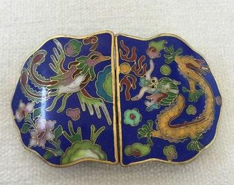 SALE Phoenix Dragon cloisonne belt buckle