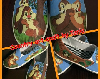 Chip and Dale Painted Canvas Shoes