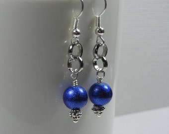 Metallic-Blue Round Bead and Chain Earrings