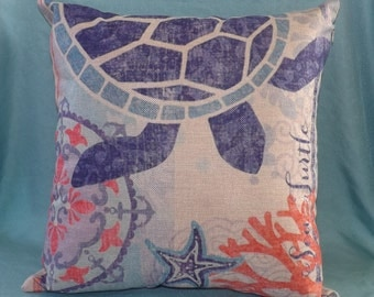 Linen Decorative Pillow Cover with Sea Turtle