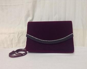 Velvet Purse, Burgundy, Rhinestones, Shoulder Bag, formal,purses,bags