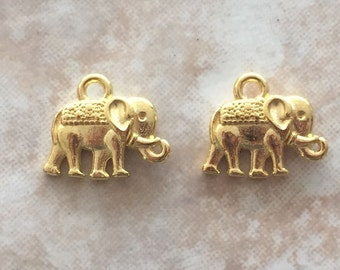 12x14x2.5mm Alloy Metal Vintage Elephant Charms in Gold Color (ch12)