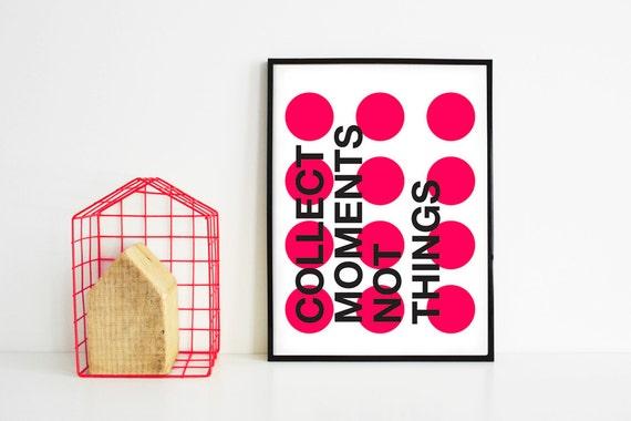 Poster grafico stampato con frase e pallini colorati for Ikea cornici 50x70