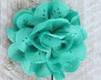 3.5 inch Eyelet Flower in Aqua - Flower Head for Headbands and DIY Hair Accessories