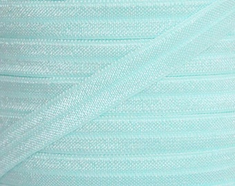 Mineral Ice Fold Over Elastic - Elastic For Baby Headbands and Hair Ties - 5 Yards of 3/8 inch FOE