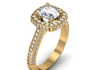 14K Yellow Gold Cushion Diamond Engagement Ring 1.05 ct. tw