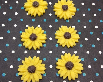 50pcs 20mm Flower Cabochons Resin Flowers yellow color resin Sunflower charms