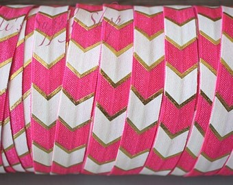 1 Yard - Hot Pink Wide Chevron - 5/8 Fold Over Elastic - FOE - Foil Foldover Elastic - Elastic by the yard - Shiny Elastic - Elastic Trim