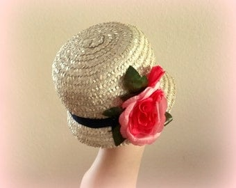 50s Cloche Straw hat - Huge Coral Bloom - Navy Blue Grosgrain Band - Lovely