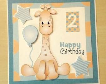 Giraffe Birthday Card * Boys Birthday Card * Girls Birthday Card * Giraffe Card * Handmade Card * Birthday Card * 1 Birthday Card * 2 Card *