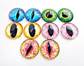 10 Eye Cabs, 20mm Glass Eyes, Glass Cabochons, Taxidermy Eyes, Monster Eyes, Reptile Eyes, Sculpting Supply, Jewelry Supplies, UK Seller