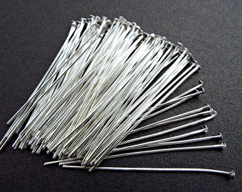 200 Silver Head Pins, 100 50mm Head Pins, Silver Findings, 2 Inch Headpins, Beading Supply, Silver Jewelry Pins, Iron Head Pins, UK Seller