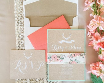 Layered Rustic Wedding Invitation Printed with White Ink on Cork in Mint, Coral with RSVP & Wood Envelope Liner. Different Color Options