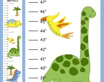ON SALE Personalized Little Dinosaurs Canvas Growth Chart