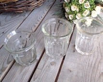French Vintage Jam Jars - Set of 3 - Heavy Glass Jelly Jars - Kitchen Container - Jam Storage - French Home Decor - French Country