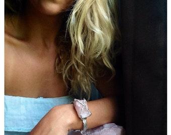 Raw Rose Quartz Adjustable Bracelet Cuff